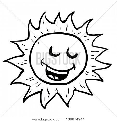 black and white smiling sun cartoon illustration