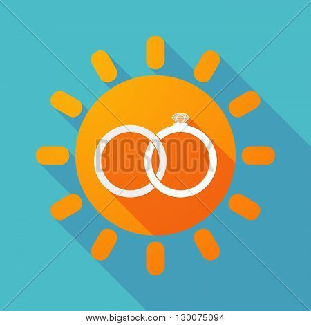 Long Shadow Sun With  Two Bonded Wedding Rings