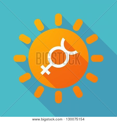 Long Shadow Sun With  The Mercury Planet Symbol