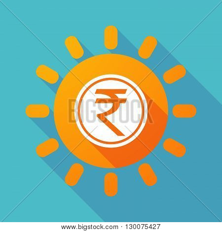 Long Shadow Sun With  A Rupee Coin Icon