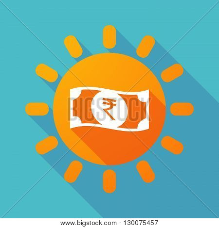 Long Shadow Sun With  A Rupee Bank Note Icon