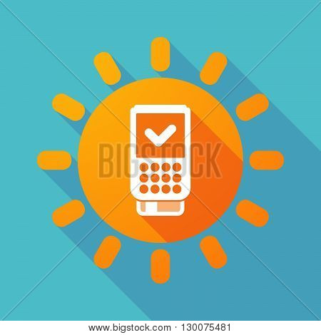 Long Shadow Sun With  A Dataphone Icon