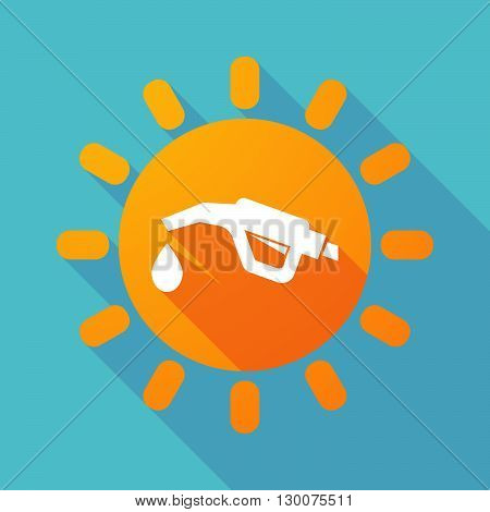 Long Shadow Sun With  A Gas Hose Icon