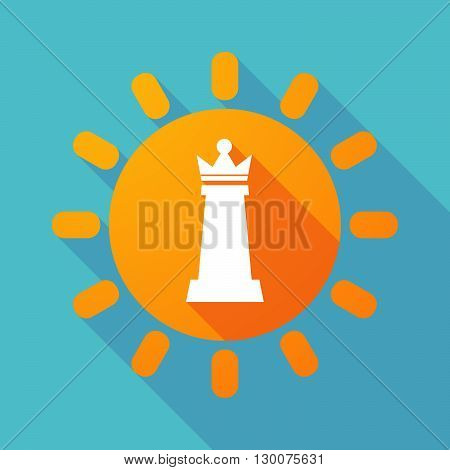 Long Shadow Sun With A  Queen   Chess Figure