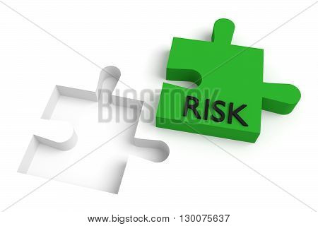 Missing puzzle piece risk green, 3d illustration