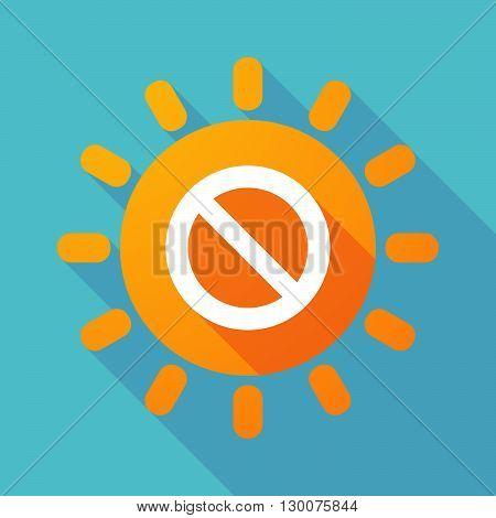 Long Shadow Sun With  A Forbidden Sign
