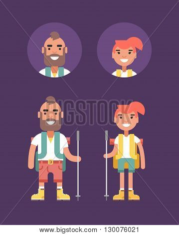 Hiking Concept. Smiling Young Man and Woman with Backpack and Stick for Hiking. Flat Style Illustration. People Profession Avatars