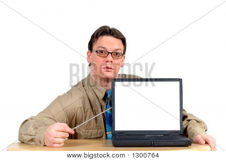 Businessman With Laptop, Powerpoint Presentation
