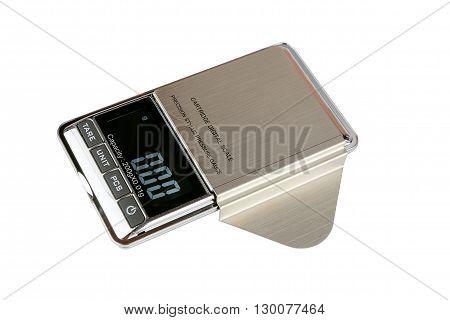 Cartridge digital scale. Measuring the weight cartridge vinyl records