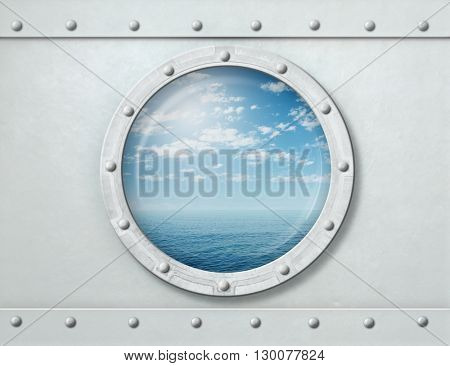 ship porthole or window with sea and horizon 3d illustration