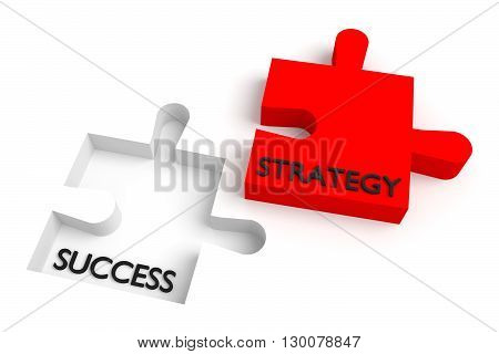 Missing puzzle piece strategy and success red, 3d illustration