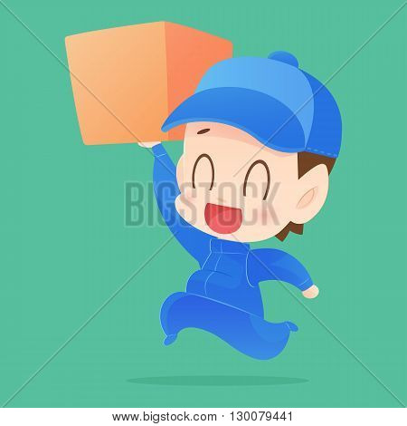 friendly postman with cap, Shopping, vector cartoon