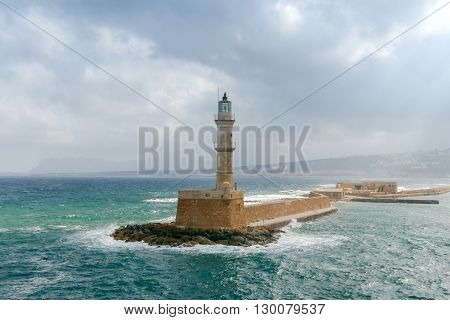 Old lighthouse in Chania, in stormy weather.