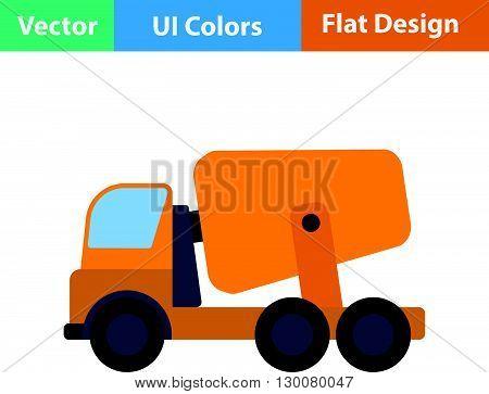 Flat Design Icon Of Concrete Mixer Truck