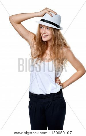 Happy woman with straw hat smiling looking to the side at blank copy space