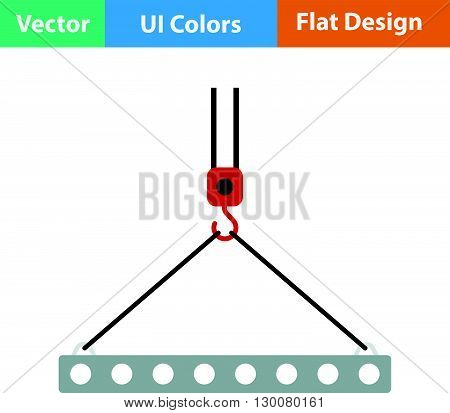 Flat Design Icon Of Slab Hanged On Crane Hook