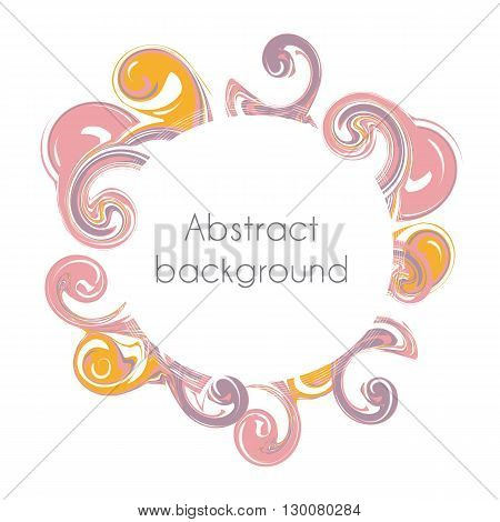 Abstract round frame. Color creative abstract waves and surges in the form of a circle. Vector illustration. Pink and orange color.