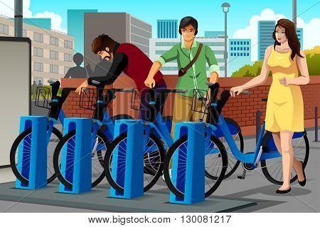 A vector illustration of people renting a bike in the city