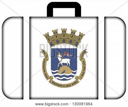 Flag Of San Juan, Puerto Rico. Suitcase Icon, Travel And Transportation Concept