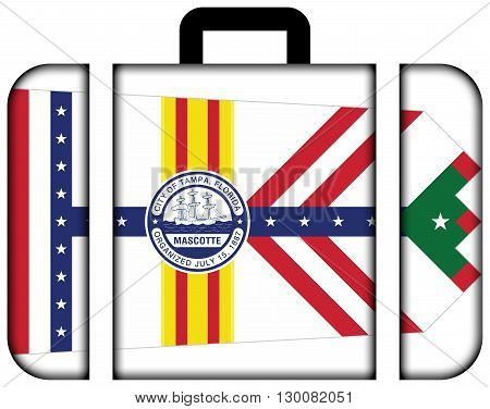 Flag Of Tampa, Florida. Suitcase Icon, Travel And Transportation Concept