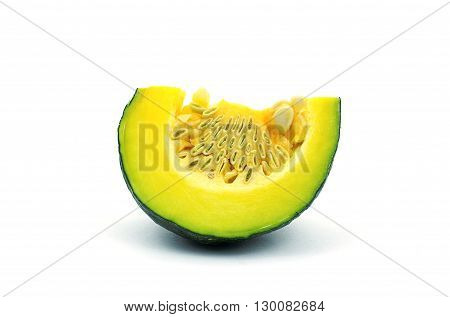 A piece of pumpkin on white background. A sliced green yellow pumpkin on white background.
