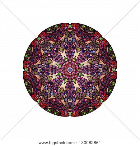 Colorful round mandala template. Hanw drawing doodle lines. Like fish scales together