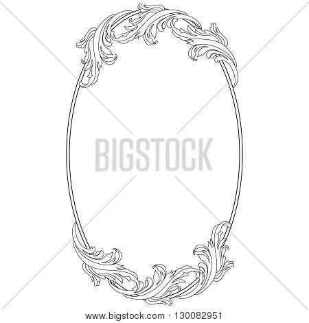 Oval vintage ellipse floral frame, border. Vector.