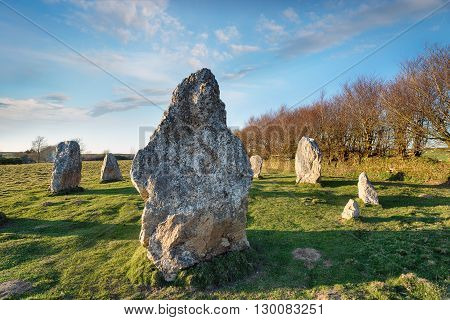 Standing Stones At Duloe In Cornwall