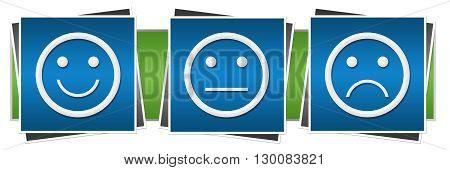 Smile sad neutral expression symbols over green blue background.