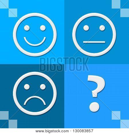 Smile sad neutral expression symbols over blue background.