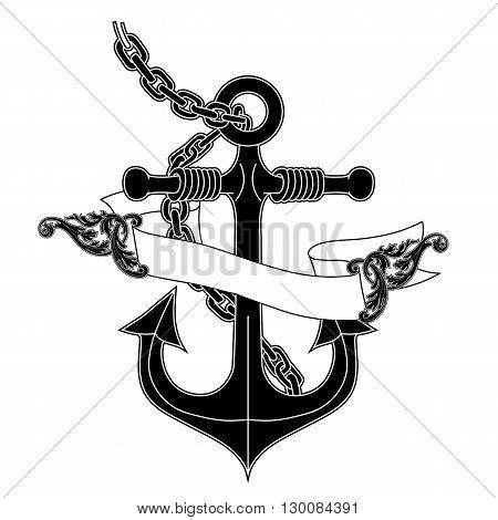 Anchor banner, Anchor label, anchor emblem, anchor logo, anchor metal, anchor icon, anchor symbol, anchor sea, anchor object. Vector