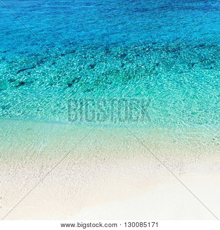 Beach background / Untouched tropical beach / Blue sea and blue sky