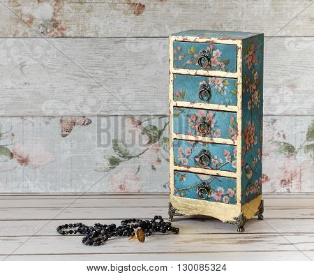 Decoupaged Mini Chest Of Drawers
