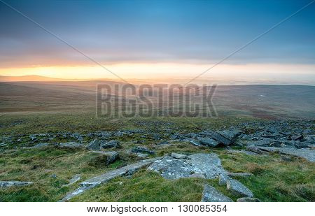 A storm brewing over Dartmoor National Park from the top of West Mill Tor near Okehampton in Devon