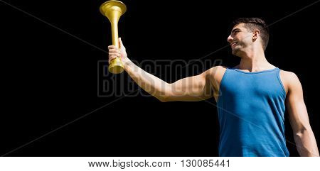 Low angle view of sportsman holding a cup