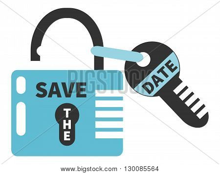 Key and opened padlock with words SAVE THE DATE. Typographic design element isolated on white background