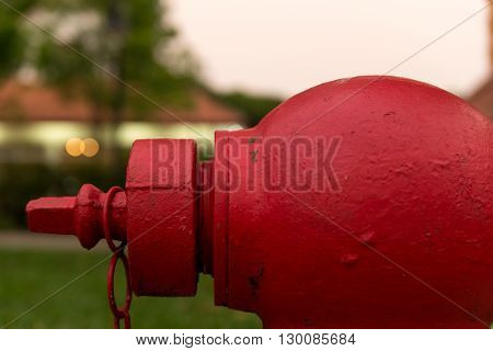Close-up on a fire hydrant in a suburban area.
