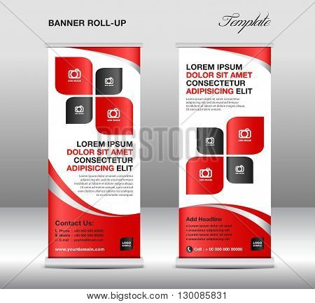 Roll up banner stand template stand design banner template Red banner advertisement