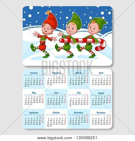 Calendar for 2017 year with happy gnomes. Week Starts Monday. Funny cartoon characters. Vector calendar template horizontal orientation.