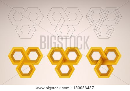 Abstract background illustration of a three dimensional endless structure