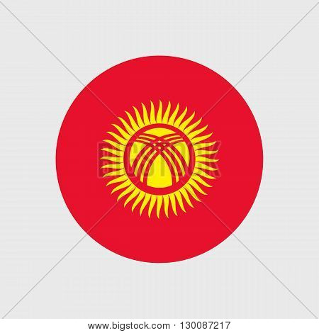 Set of vector icons with Kyrgyzstan flag