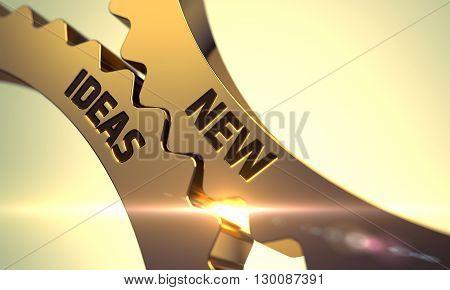 New Ideas Golden Cogwheels. New Ideas - Industrial Design. New Ideas on Mechanism of Golden Metallic Cog Gears. New Ideas - Illustration with Lens Flare. 3D.