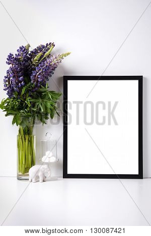 Modern home decor with frame and interior objects, design ready poster mock-up