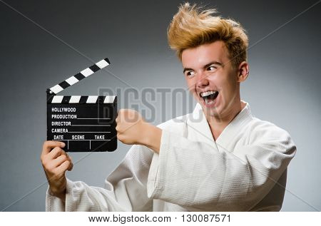 Funny karate fighter in sports concept