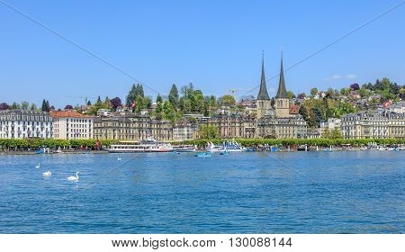 Lucerne, Switzerland - 7 May, 2016: view on Lake Lucerne from the Bahnhofquai quay. Lake Lucerne (German: Vierwaldstattersee) is a lake in central Switzerland the fourth largest in the country. Lucerne is a city in central Switzerland.