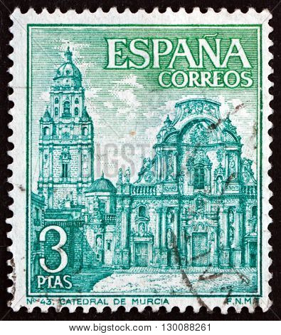 SPAIN - CIRCA 1969: a stamp printed in the Spain shows Murcia Cathedral circa 1969