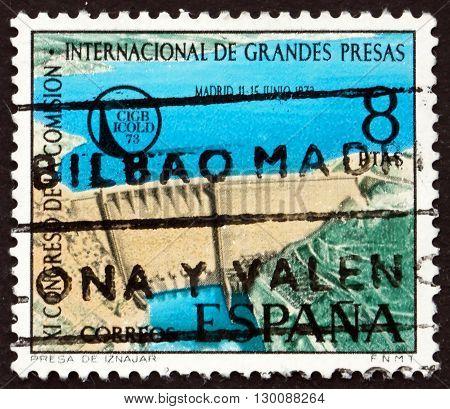 SPAIN - CIRCA 1973: a stamp printed in the Spain shows Iznajar Dam on Genil River circa 1973