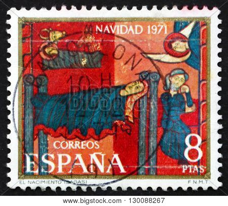 SPAIN - CIRCA 1971: a stamp printed in the Spain shows Sagas Altarpiece Nativity circa 1971
