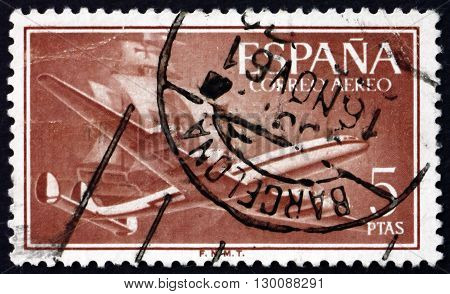 SPAIN - CIRCA 1956: a stamp printed in the Spain shows Plane and Caravel circa 1956