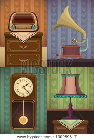 Set of vintage objects. Vector illustration.